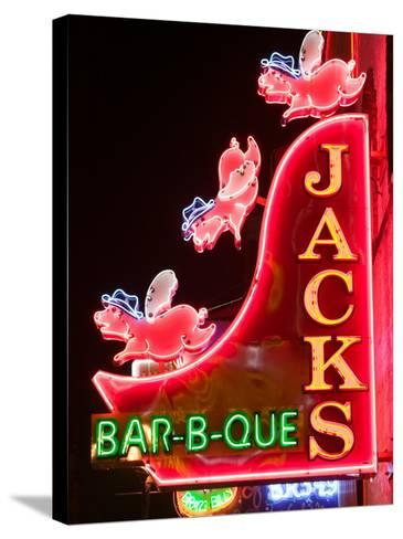 Neon Sign for Jack's BBQ Restaurant, Lower Broadway Area, Nashville, Tennessee, USA-Walter Bibikow-Stretched Canvas Print