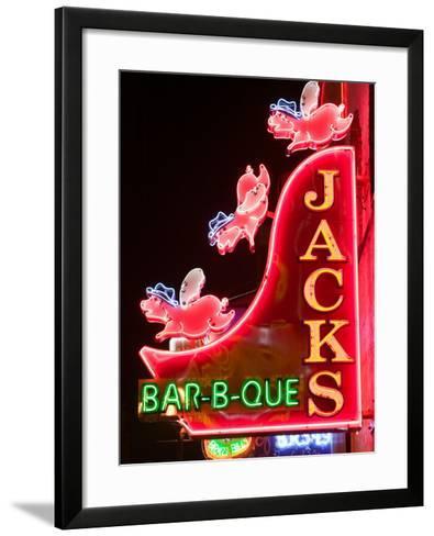 Neon Sign for Jack's BBQ Restaurant, Lower Broadway Area, Nashville, Tennessee, USA-Walter Bibikow-Framed Art Print