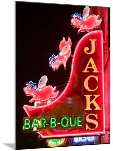 Neon Sign for Jack's BBQ Restaurant, Lower Broadway Area, Nashville, Tennessee, USA-Walter Bibikow-Mounted Photographic Print