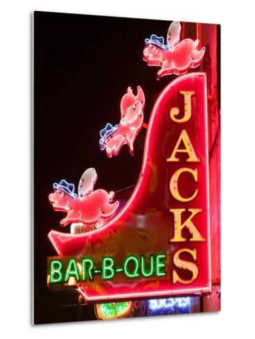 Neon Sign for Jack's BBQ Restaurant, Lower Broadway Area, Nashville, Tennessee, USA-Walter Bibikow-Metal Print
