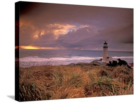 North Head Lighthouse at Sunset, Fort Canby State Park, Washington, USA-Brent Bergherm-Stretched Canvas Print