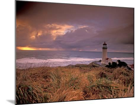 North Head Lighthouse at Sunset, Fort Canby State Park, Washington, USA-Brent Bergherm-Mounted Photographic Print