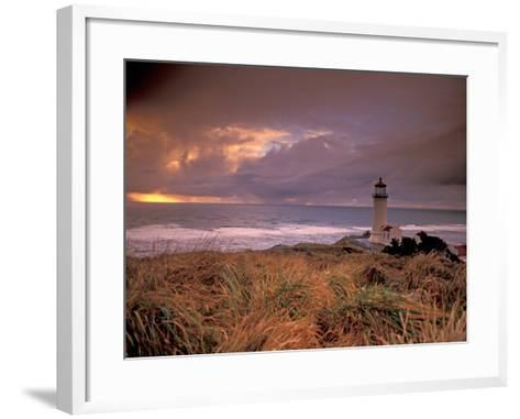North Head Lighthouse at Sunset, Fort Canby State Park, Washington, USA-Brent Bergherm-Framed Art Print