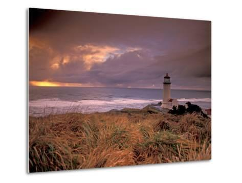 North Head Lighthouse at Sunset, Fort Canby State Park, Washington, USA-Brent Bergherm-Metal Print