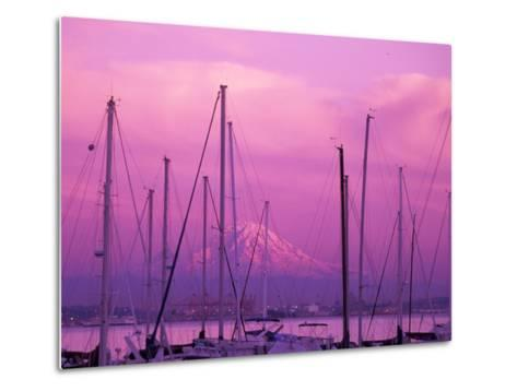 Elliot Bay Marina with Mount Rainier at Sunset, Seattle, Washington, USA-Jamie & Judy Wild-Metal Print