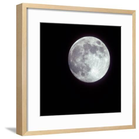 Bright Full Moon in a Black Night Sky-Janis Miglavs-Framed Art Print