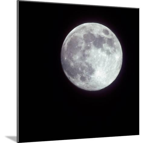Bright Full Moon in a Black Night Sky-Janis Miglavs-Mounted Photographic Print