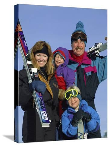 Family of Skiers--Stretched Canvas Print