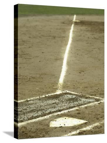 Homeplate with View of Third Base--Stretched Canvas Print