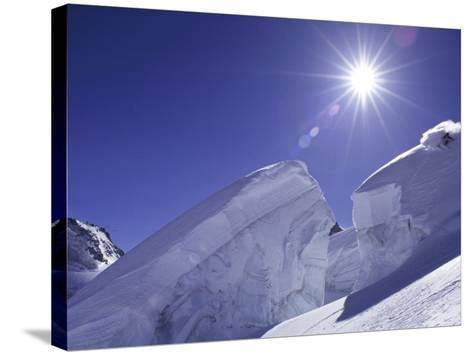 Low Angle View of a Man Skiing--Stretched Canvas Print