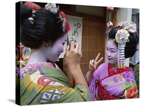 Apprentice Geisha (Maiko), Women Dressed in Traditional Costume, Kimono, Kyoto, Honshu, Japan--Stretched Canvas Print