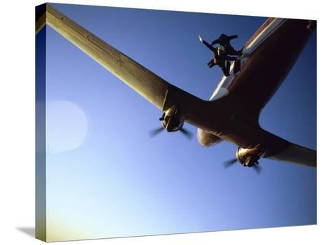Dc-3 Airplane and Skydivers Zephyrhills, Florida, USA--Stretched Canvas Print