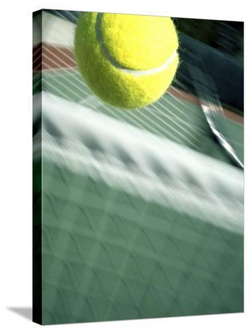 Tennis Racquet, Ball and Net--Stretched Canvas Print