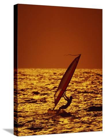 Windsurfer Silhouette--Stretched Canvas Print