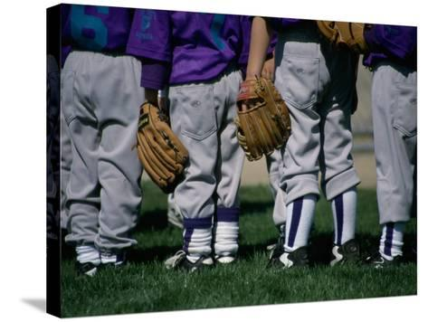 Rear View of a Little League Baseball Team Standing in a Row--Stretched Canvas Print
