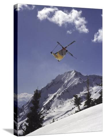 Low Angle View of a Skier in Mid Air--Stretched Canvas Print