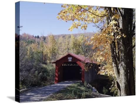 Covered Bridge in Fall--Stretched Canvas Print