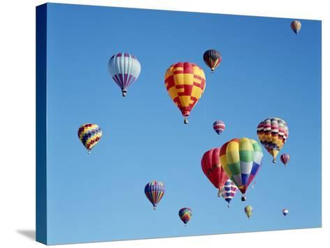 Colorful Hot Air Balloons in Sky, Albuquerque, New Mexico, USA--Stretched Canvas Print