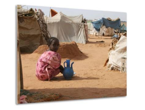 A Girl Washes Plates for Her Family in the North Darfur Refugee Camp of El Sallam October 4, 2006-Alfred De Montesquiou-Metal Print