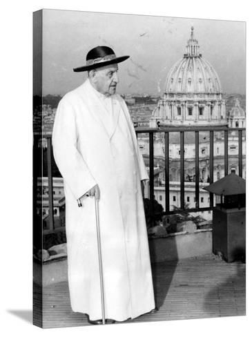 Pope John XXIII on the Terrace of a IX-Century Tower in the Vatican Gardens April 15, 1963--Stretched Canvas Print