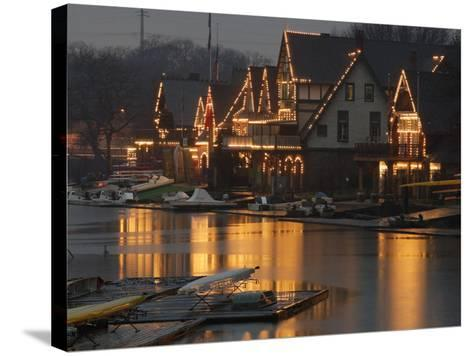 A Portion of Philadelphia's Boathouse Row is Shown at Dusk Thursday--Stretched Canvas Print