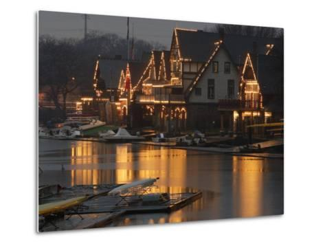 A Portion of Philadelphia's Boathouse Row is Shown at Dusk Thursday--Metal Print