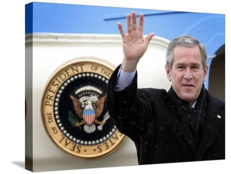 U.S. President George W. Bush Waves as He Steps out of the Air Force One--Stretched Canvas Print