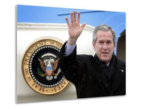 U.S. President George W. Bush Waves as He Steps out of the Air Force One--Metal Print