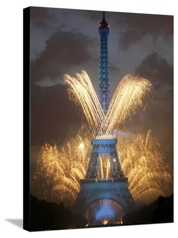 Fireworks Illuminate the Eiffel Tower--Stretched Canvas Print