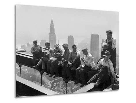 Construction Workers Take a Lunch Break on a Steel Beam Atop the RCA Building at Rockefeller Center--Metal Print
