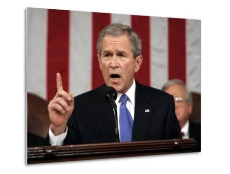 President Bush Delivers His Fifth State of the Union Speech--Metal Print