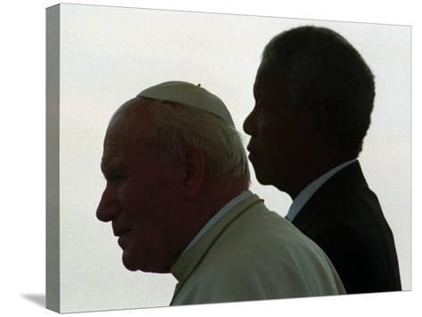 Pope John Paul II and South African President Nelson Mandela--Stretched Canvas Print