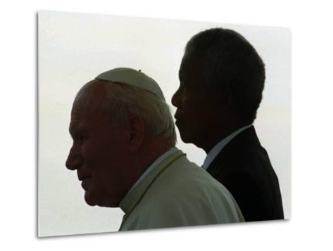 Pope John Paul II and South African President Nelson Mandela--Metal Print