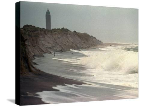 Waves from the Atlantic Ocean Crash against the Shore at Robert Moses State Park--Stretched Canvas Print