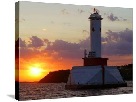 The Sun Sets Over Mackinac Island--Stretched Canvas Print