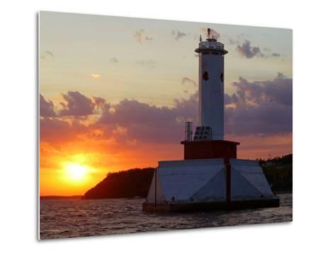 The Sun Sets Over Mackinac Island--Metal Print