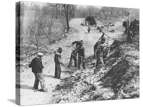 Works Progress Administration (Wpa) Workers Build a New Farm-To-Market Road--Stretched Canvas Print