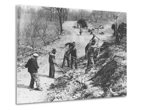 Works Progress Administration (Wpa) Workers Build a New Farm-To-Market Road--Metal Print