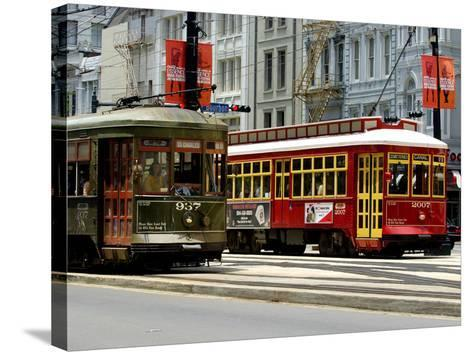 One of the 1920s Era Streetcars--Stretched Canvas Print