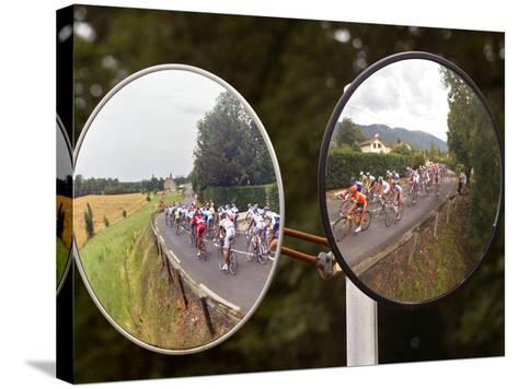 Mirrors at a T-Junction Reflect Riders During the 18th Stage of the Tour De France--Stretched Canvas Print