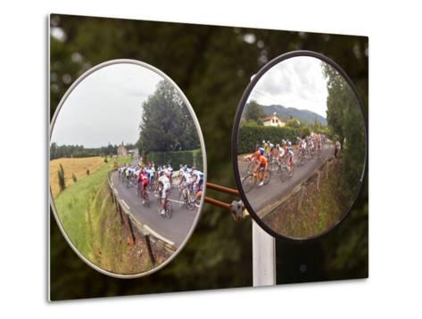 Mirrors at a T-Junction Reflect Riders During the 18th Stage of the Tour De France--Metal Print