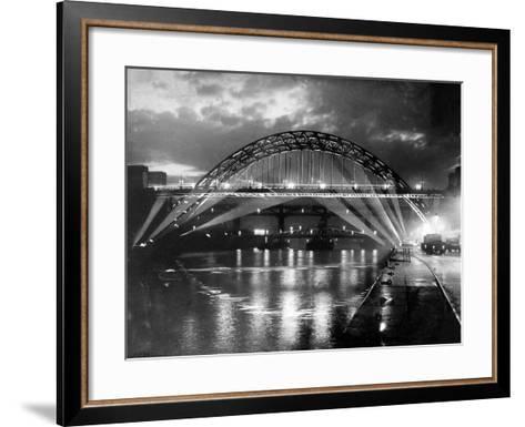 The Tyne Bridge Illuminated at Night circa 1969--Framed Art Print