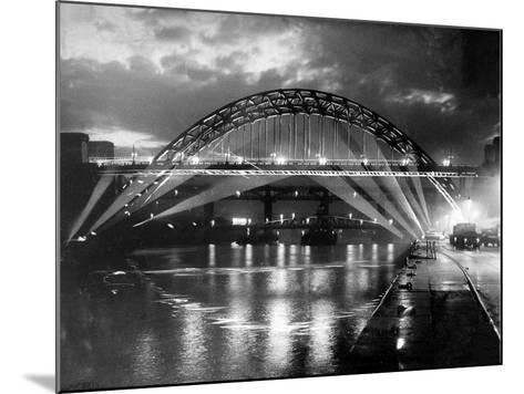 The Tyne Bridge Illuminated at Night circa 1969--Mounted Photographic Print