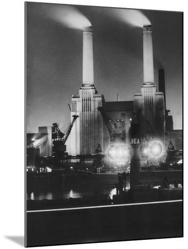 Coal Ships Unload at Battersea Power Station, July 1950--Mounted Photographic Print