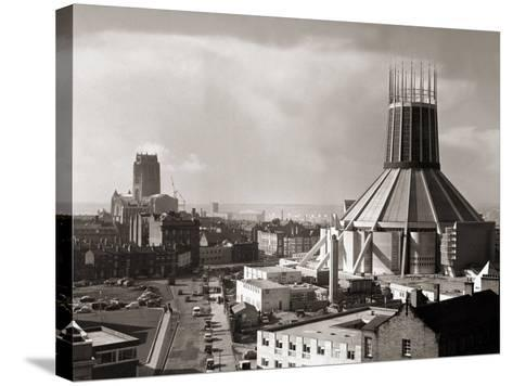 Two Cathedrals, Anglican and Catholic, Liverpool, March 1967--Stretched Canvas Print