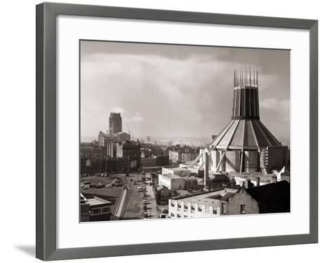 Two Cathedrals, Anglican and Catholic, Liverpool, March 1967--Framed Art Print