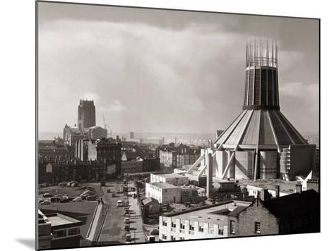 Two Cathedrals, Anglican and Catholic, Liverpool, March 1967--Mounted Photographic Print