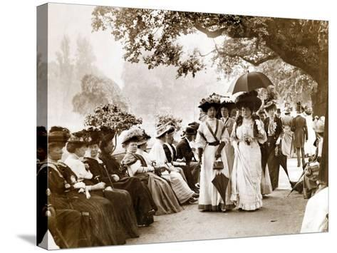 Ladies of Edwardian Society Take a Stroll in Hyde Park, 1905--Stretched Canvas Print