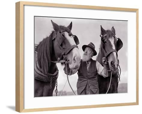 A Farmer with His Horses, 1962--Framed Art Print