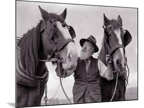 A Farmer with His Horses, 1962--Mounted Photographic Print